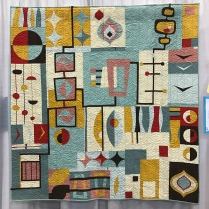 Organic Mid-Centrury Mod - Laura Bennett's group quilt made with members of the Central Jersey MQG
